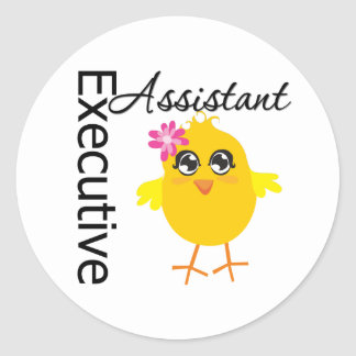 Cute Career Chick Executive Assistant Classic Round Sticker