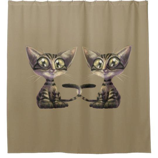 Cute Caricature Cats Shower Curtain