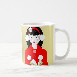 Cute Carol Singer In The Snow Festive Picture Coffee Mug