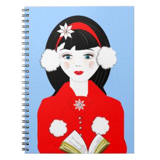 Cute Carol Singer In The Snow Festive Picture Spiral Note Books