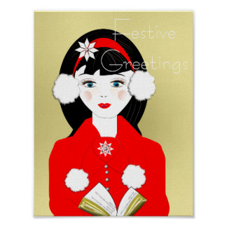 Cute Carol Singer In The Snow Festive Picture Poster