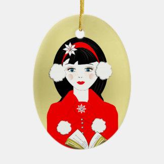 Cute Carol Singer O Tidings of Comfort and of Joy Ornaments
