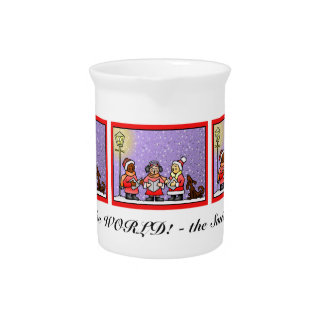 Cute Carolers & Singing Dog Personalized Drink Pitcher