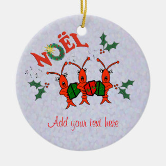 Cute Caroling Crawfish Lobster Christmas Double-Sided Ceramic Round Christmas Ornament