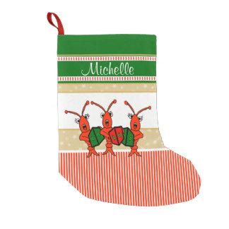 Cute Caroling Crawfish Small Christmas Stocking