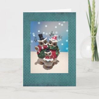 Cute Caroling Owles Card