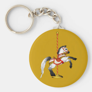Cute Carousel Horse 1med Basic Round Button Keychain
