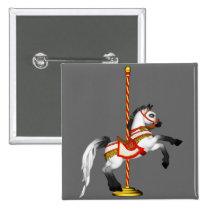 Cute Carousel Horse 1med Pinback Button
