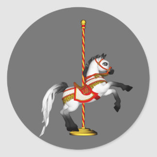 Cute Carousel Horse 1med Round Stickers