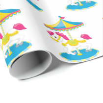 Cute Carousel horse theme park party wrap Wrapping Paper