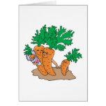 cute carrot cartoon family greeting card