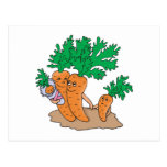 cute carrot cartoon family postcard