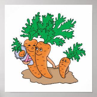 cute carrot cartoon family posters