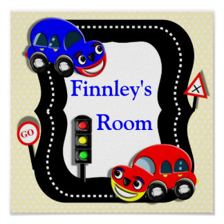 Cute Cars Boys Room  Personalized Name Picture Poster