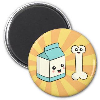 Cute Cartoon about Milk and Bone 2 Inch Round Magnet