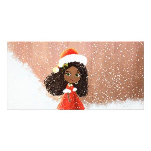 Cute cartoon African Christmas girl Photo Card