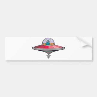 Cute Cartoon Alien In A UFO Bumper Sticker