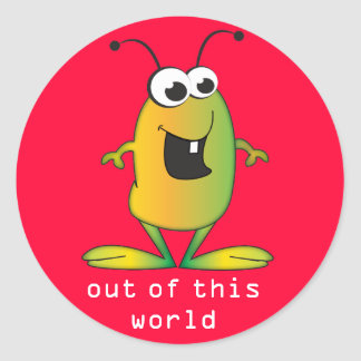 Cute Cartoon Alien invasion Classic Round Sticker