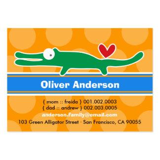 Cute Cartoon Alligator Kid Photo Calling Card