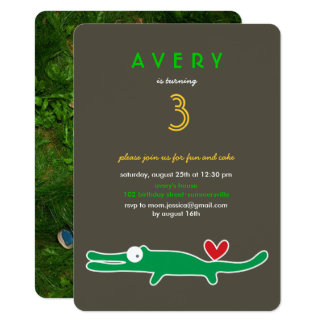 Cute Cartoon Alligator Kids Birthday Photo Invite