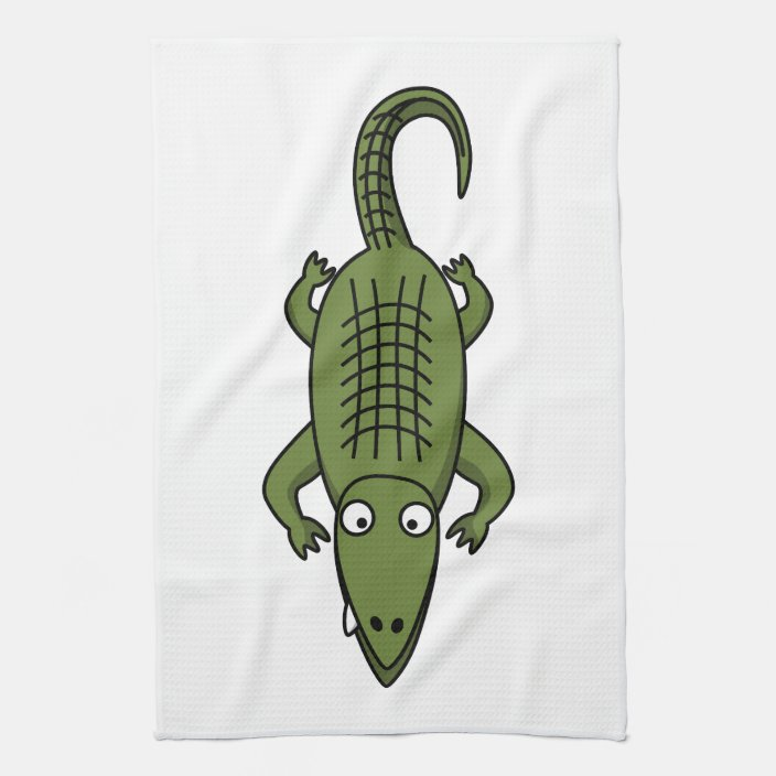 Cute Cartoon Alligator Kitchen Towel Zazzle Com