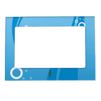 Cute Cartoon Alligator with Water Background Magnetic Frame