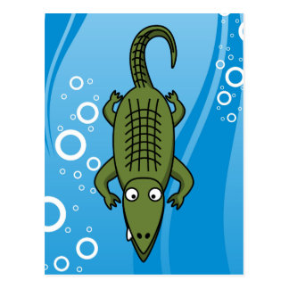 Cute Cartoon Alligator with Water Background Postcard