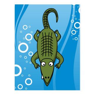 Cute Cartoon Alligator with Water Background Postcard