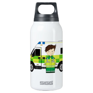 Cute Cartoon Ambulance and EMT Insulated Water Bottle