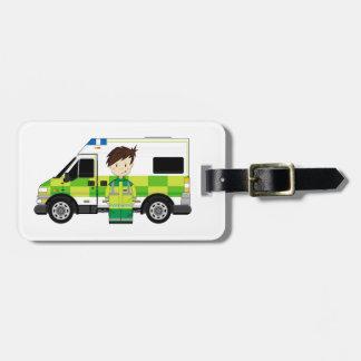 Cute Cartoon Ambulance and EMT Luggage Tag