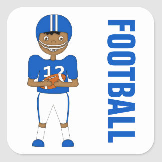 Cute Cartoon American Football Player Blue Kit Square Sticker