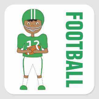 Cute Cartoon American Football Player Green Kit Square Sticker