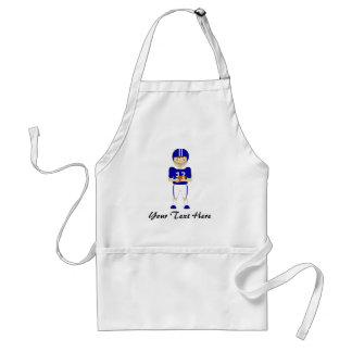 Cute Cartoon American Football Player in Blue Kit Adult Apron