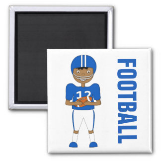 Cute Cartoon American Football Player in Blue Kit Magnet