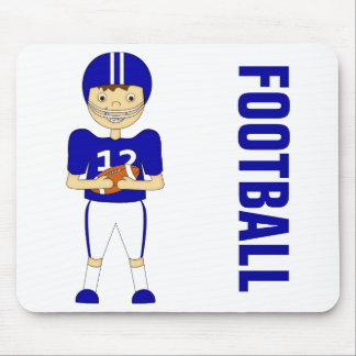 Cute Cartoon American Football Player in Blue Kit Mouse Pad