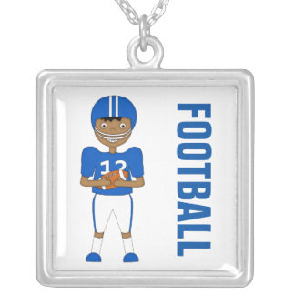 Cute Cartoon American Football Player in Blue Kit Silver Plated Necklace