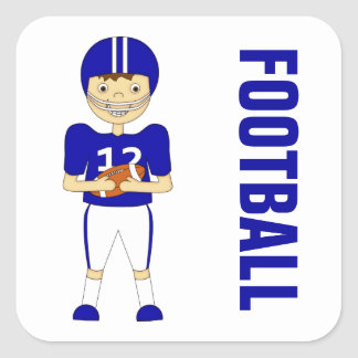 Cute Cartoon American Football Player in Blue Kit Square Sticker