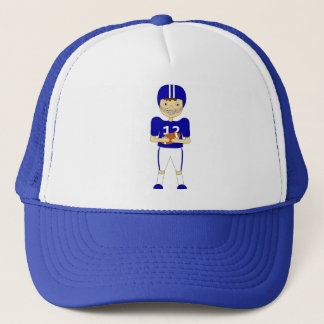 Cute Cartoon American Football Player in Blue Kit Trucker Hat