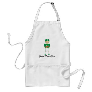 Cute Cartoon American Football Player in Green Kit Adult Apron