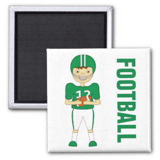 Cute Cartoon American Football Player in Green Kit Magnets