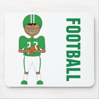 Cute Cartoon American Football Player in Green Kit Mouse Pad