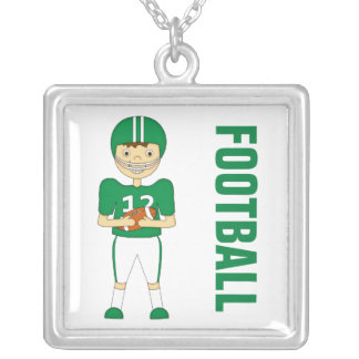 Cute Cartoon American Football Player in Green Kit Necklace