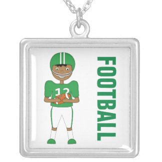Cute Cartoon American Football Player in Green Kit Square Pendant Necklace