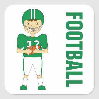 Cute Cartoon American Football Player in Green Kit Square Sticker