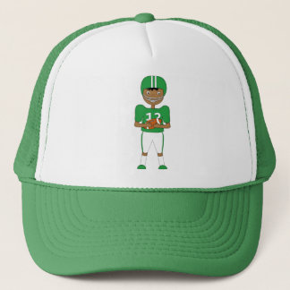Cute Cartoon American Football Player in Green Kit Trucker Hat
