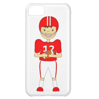 Cute Cartoon American Football Player in Red Kit Case For iPhone 5C