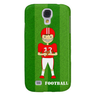 Cute Cartoon American Football Player in Red Kit Samsung Galaxy S4 Cases