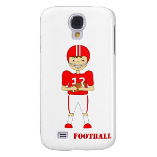 Cute Cartoon American Football Player in Red Kit Galaxy S4 Cases