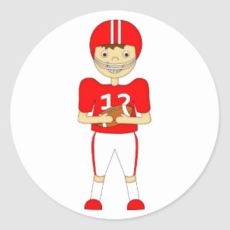Cute Cartoon American Football Player in Red Kit Classic Round Sticker
