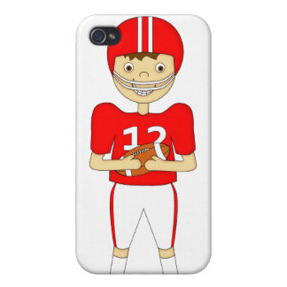 Cute Cartoon American Football Player in Red Kit iPhone 4/4S Cover